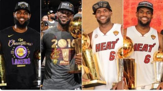 NBA发布湖人总冠军定妆照 詹姆斯成为历史第一人